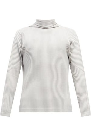HOMME PLISSÉ ISSEY MIYAKE Roll-neck Pleated-jersey Long-sleeved Top - Mens - Light Grey
