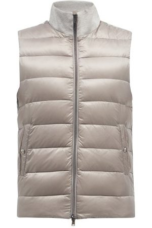 HERNO High-neck Cotton-jersey And Quilted Down Gilet - Mens - Grey