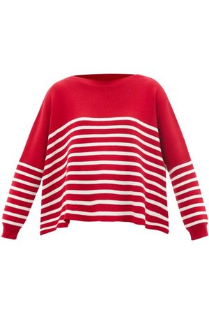 VALENTINO Women Sweaters - Oversized Boat-neck Striped Cotton-intarsia Jumper - Womens