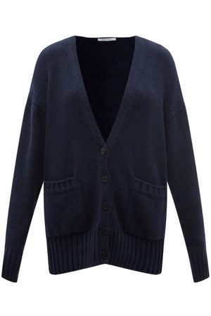 Another Tomorrow Women Cardigans - V-neck Cotton Cardigan - Womens - Navy