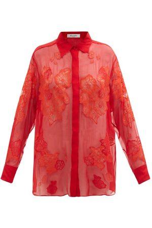 VALENTINO Women Blouses - Floral Lace-appliquéd Silk-chiffon Blouse - Womens