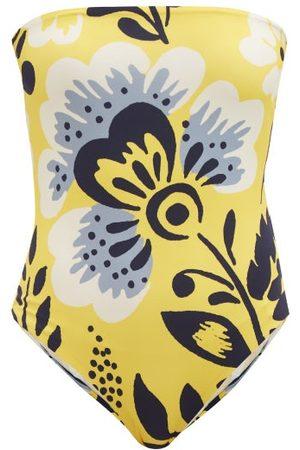 Cala De La Cruz Women Swimsuits - Alison Strapless Floral-print Swimsuit - Womens - Print