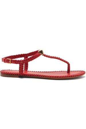 VALENTINO GARAVANI Roman Stud Flat Macramé-leather Sandals - Womens