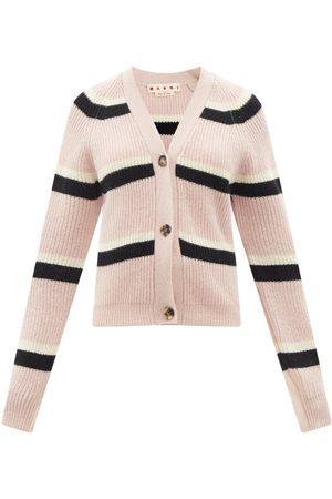 Marni Women Cardigans - V-neck Striped Ribbed-wool Cardigan - Womens
