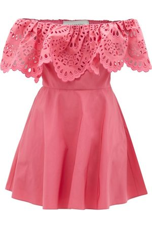 Valentino Sangallo-embroidered Cotton-blend Mini Dress - Womens