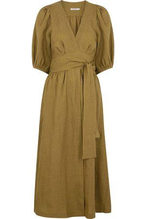 Three Graces London Fiona olive linen wrap dress