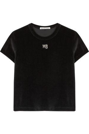 Alexander Wang Logo-embellished velour T-shirt