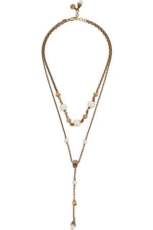 Alexander McQueen Skull and Pearl embellished -tone necklace