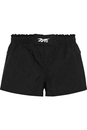 REEBOK X VICTORIA BECKHAM Woman Snap-detailed Printed Crinkled-shell Shorts Size L