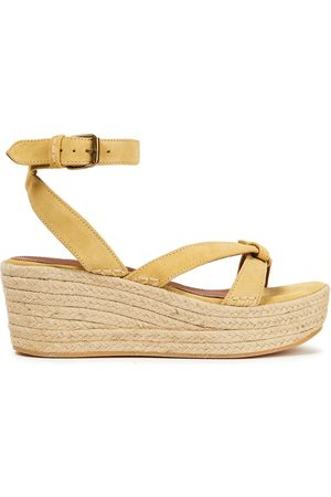 BA&SH Woman Candella Knotted Suede Espadrille Wedge Sandals Pastel Size 36