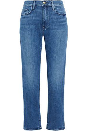 FRAME Women High Waisted - Woman Le Nouveau Straight High-rise Straight-leg Jeans Mid Denim Size 24