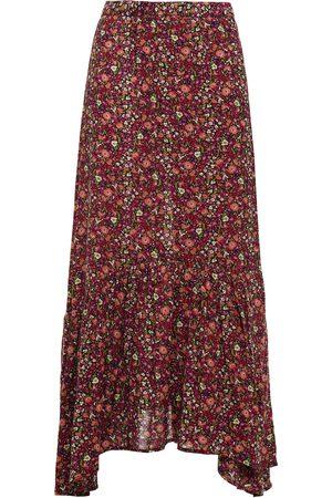 BA&SH Women Printed Skirts - Woman Sena Gathered Floral-print Crepe Midi Wrap Skirt Size 0