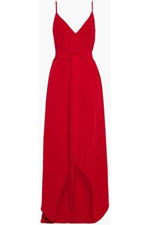 VALENTINO Women Asymmetrical Dresses - Woman Asymmetric Belted Silk-crepe Gown Size 12