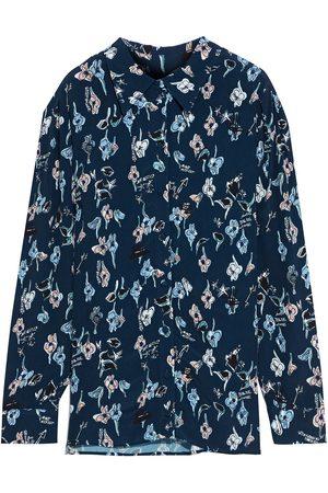 MARKUS LUPFER Women Long sleeves - Woman Maxine Floral-print Crepe Shirt Indigo Size 10