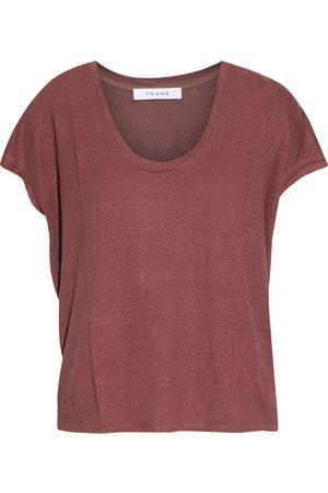 FRAME Women Short Sleeve - Woman Slub Organic Linen-jersey T-shirt Brick Size L