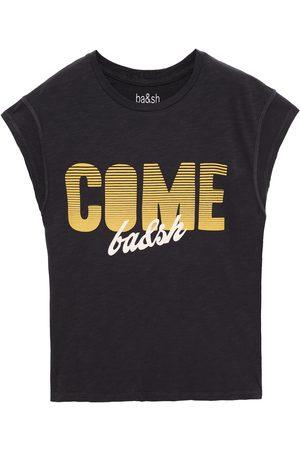 BA&SH Women Short Sleeve - Woman Coby Printed Cotton-jersey T-shirt Charcoal Size 0