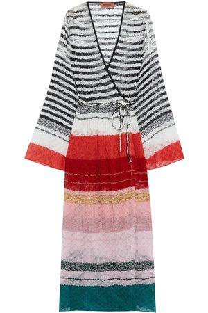 MISSONI Women Knitted Dresses - Woman Metallic Striped Crochet-knit Kaftan Size 40