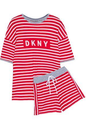 DKNY Woman Striped Stretch-jersey Pajama Set Size L