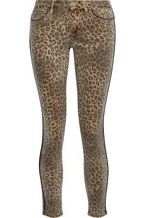 FRAME Women Skinny - Woman Le Skinny De Jeanne Leopard-print Mid-rise Skinny Jeans Animal Print Size 23