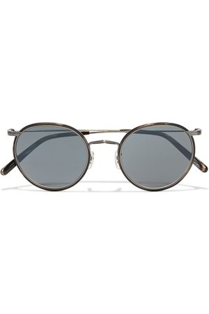 OLIVER PEOPLES Women Round - Woman Casson Round-frame Silver-tone And Marbled Acetate Sunglasses Anthracite Size