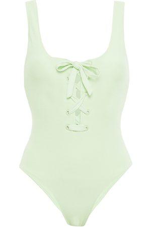 GANNI Woman Lace-up Stretch-seersucker Swimsuit Light Size 32
