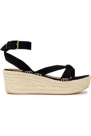BA&SH Women Heeled Sandals - Woman Candella Knotted Suede Espadrille Wedge Sandals Size 36