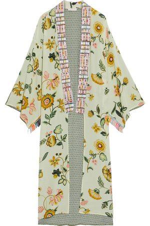 ANJUNA Women Kimonos - Woman Lina Jacquard-trimmed Paneled Floral-print Silk Crepe De Chine Kimono Light Size L