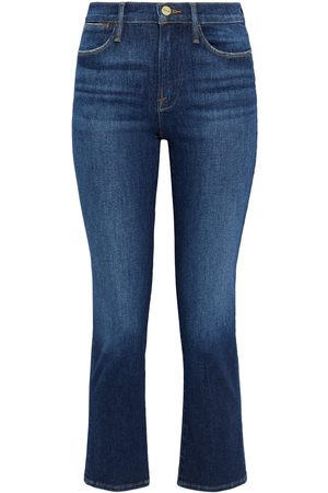 Frame Women High Waisted - Woman Le High Cropped Mid-rise Straight-leg Jeans Dark Denim Size 23