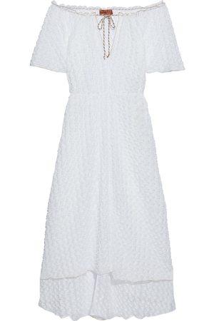 MISSONI MARE Women Strapless Dresses - Woman Mare Off-the-shoulder Crochet-knit Midi Dress Size M