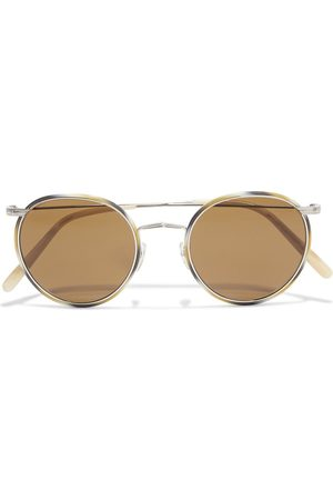 Oliver Peoples Woman Casson Round-frame Silver-tone And Marbled Acetate Sunglasses Mushroom Size