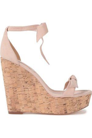 ALEXANDRE BIRMAN Woman Clarita Bow-embellished Suede Wedge Sandals Blush Size 40.5