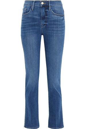 Frame Woman Le Sylvie Slender Straight High-rise Slim-leg Jeans Mid Denim Size 24