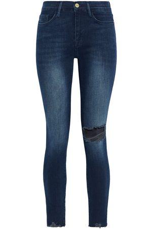 FRAME Woman Le Skinny De Jeanne Distressed Mid-rise Skinny Jeans Dark Denim Size 31