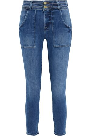 FRAME Women High Waisted - Woman Le High Skinny Crop High-rise Skinny Jeans Mid Denim Size 24