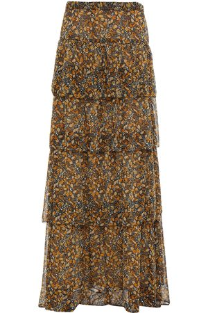 BA&SH Women Printed Skirts - Woman Sibil Tiered Printed Georgette Maxi Skirt Charcoal Size 0