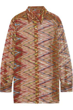 MISSONI Women Long sleeves - Woman Metallic Crochet-knit Cupro-blend Shirt Light Size 42