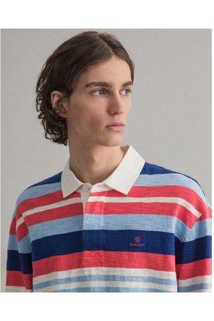 Gant Paradise Pink Surf Heavy Rugger Long Sleeve Striped Polo Shirt 2025043