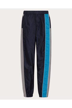 VALENTINO UOMO Nylon Pants With Optical Valentino Motif Man Navy 100% Poliammide 46