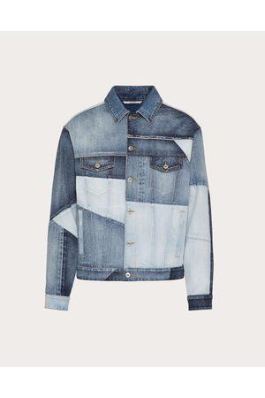VALENTINO UOMO Denim Patchwork Jacket Man Navy Cotton 100% 46