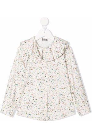 Il gufo Girls Blouses - Floral ruffle blouse - Neutrals