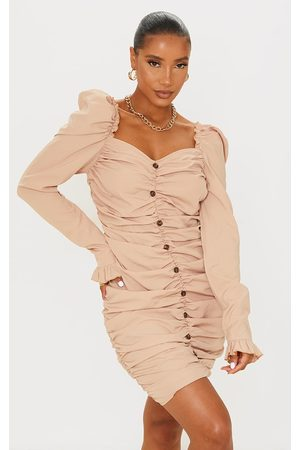 PRETTYLITTLETHING Stone Ruched Wooden Button Detail Bodycon Dress