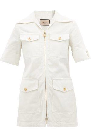 Gucci Women Denim Jackets - GG-button Denim Jacket - Womens
