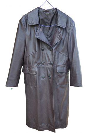 Stefanel Burgundy Leather Trench Coats