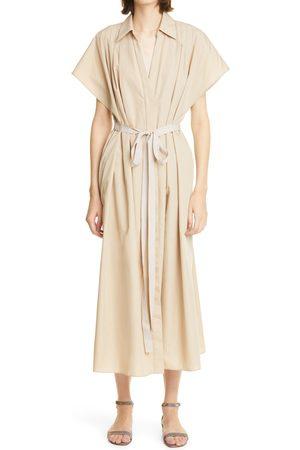 ADAM LIPPES Women's Tie Waist Cotton Poplin Shirtdress