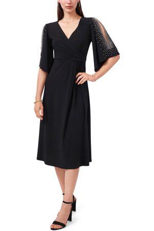 Chaussmoi Women's Split Sleeve Beaded Midi Dress