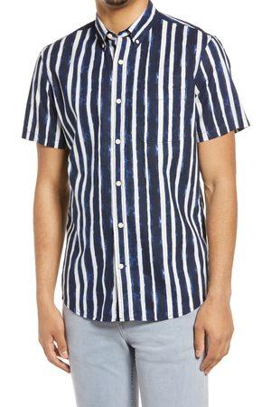 Treasure & Bond Men Short sleeves - Men's Stripe Short Sleeve Linen & Cotton Button-Up Shirt