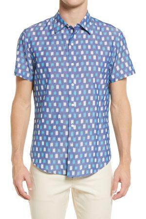 BONOBOS Men's Men's Rivie Slim Fit Print Short Sleeve Button-Up Shirt