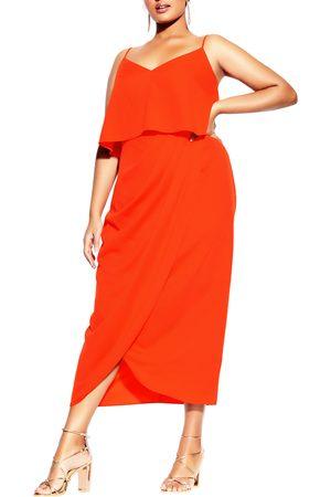 City Chic Plus Size Women's Sleeveless Popover Midi Dress