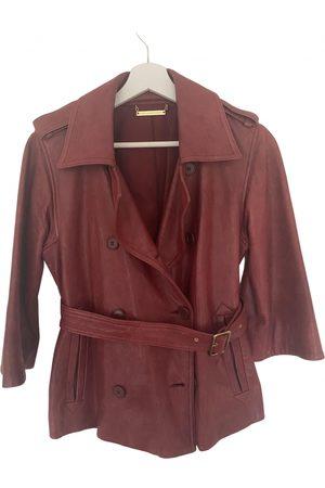Diane von Furstenberg Women Leather Jackets - Burgundy Leather Jackets