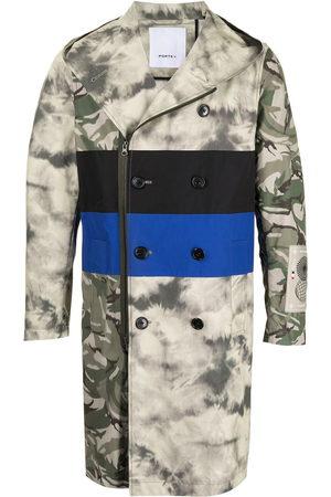Ports V Striped camouflage print zipped coat